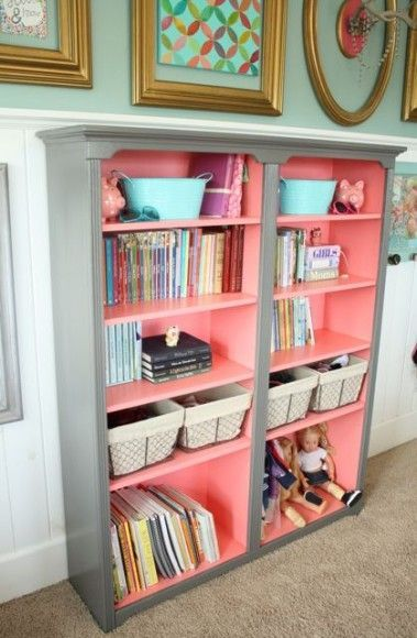 DIY Bookshelf with Pop of Color