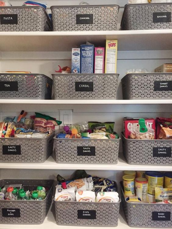 Pantry Organization -Labeled Baskets