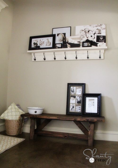 Simple DIY rustic bench idea for hallways, foyers, or mudrooms - or on a porch.