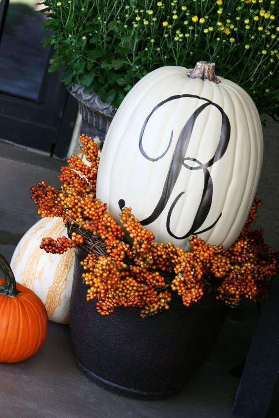 Monogrammed Pumpkin - DIY Fall Front Porch Decor