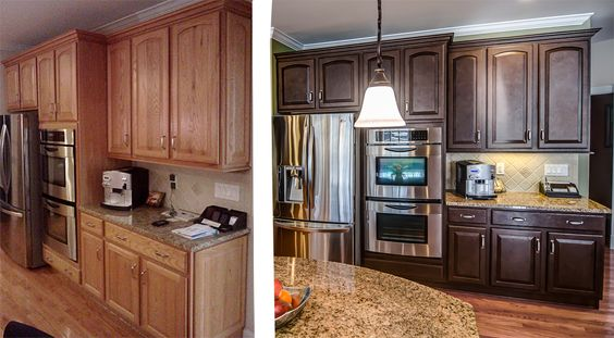 Painted Oak Cabinets - Kitchen Remodel Before and After