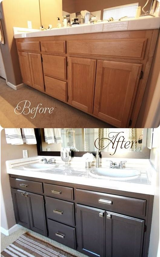 Bathroom Cabinet Update - Before and After