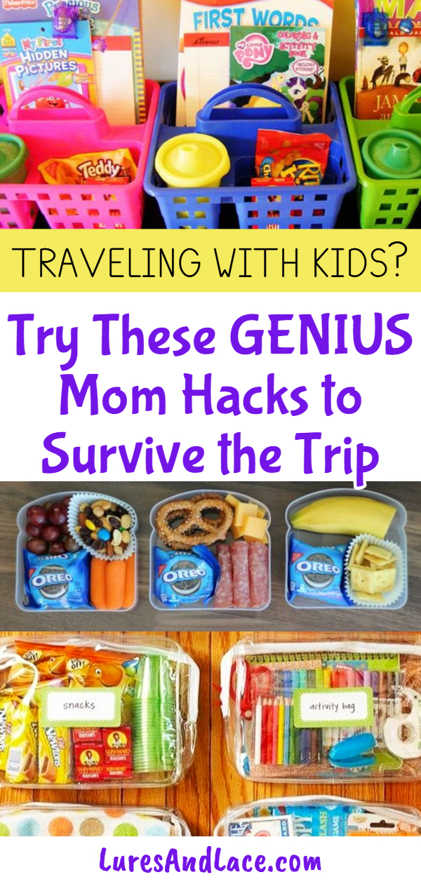 Car Trip Ideas for Kids - travel hacks and brilliant MOM HACKS for traveling with kids on car trips. Things to do, activities, busy bags ad more easy DIY car trip ideas for kids