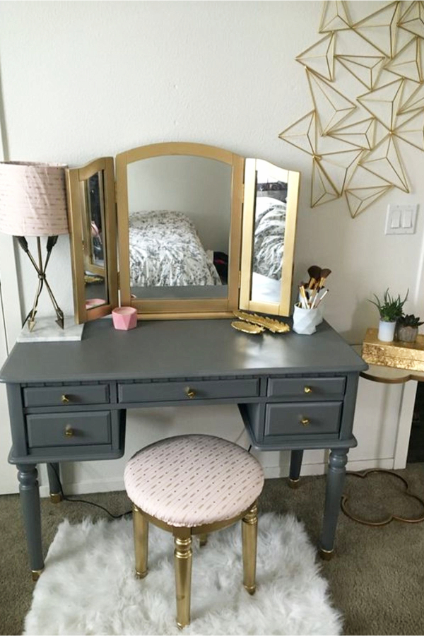 Repurposed Desk into a Make Up Vanity - Teen Bedroom Ideas