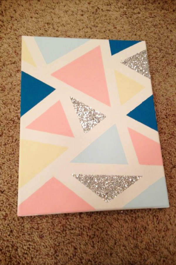 DIY Bedroom Decor Ideas for Teen Girls Bedroom - Put painters tape on a canvas and paint with coordinating colors from your bedroom to create beautiful and creative wall art for your room!