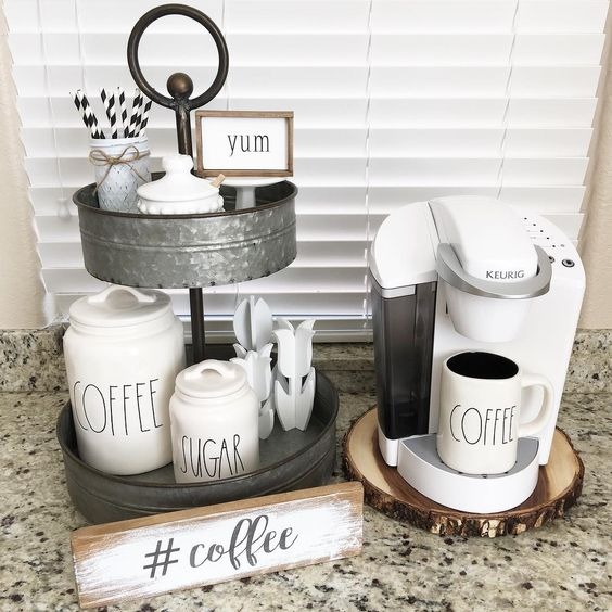 Coffee bar for kitchen 16 lures and lace for Coffee bar setup ideas