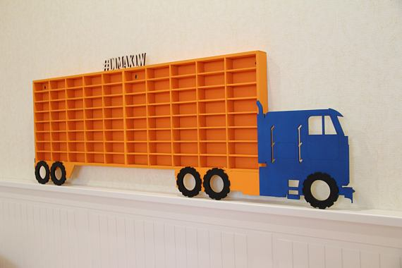 DIY BigRig Wall Mount for Hot Wheels Storage - Easy and fun way to organize your Hot Wheels, Matchbox and other toy cars that your kids will love! #HotWheels #organizationideas
