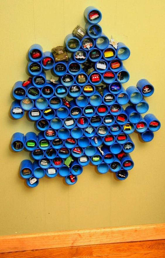Genial DIY Wall Storage Solution For Toy Cars Using PVC Pipe
