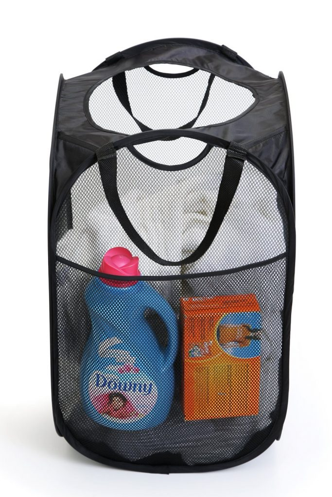 Dorm Room Essentials - Laundry Basket with Handles and Pocket for Detergent