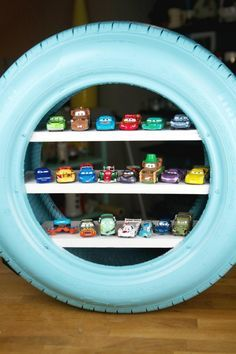 DIY Hot Wheels Display Case Using An Old Tire