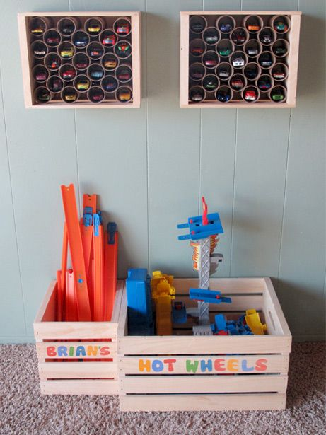 DIY Hot Wheels Wall Mounted Toy Car Storage and Wooden Crates on the Floor for Hot Wheels Track Storage and Organization