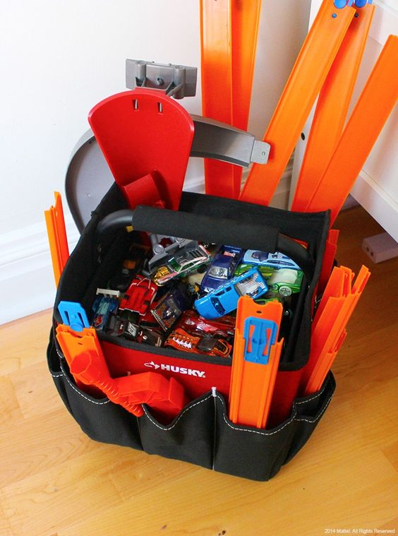 Hot Wheels Track and Storage Ideas Using a Big Tool Bag