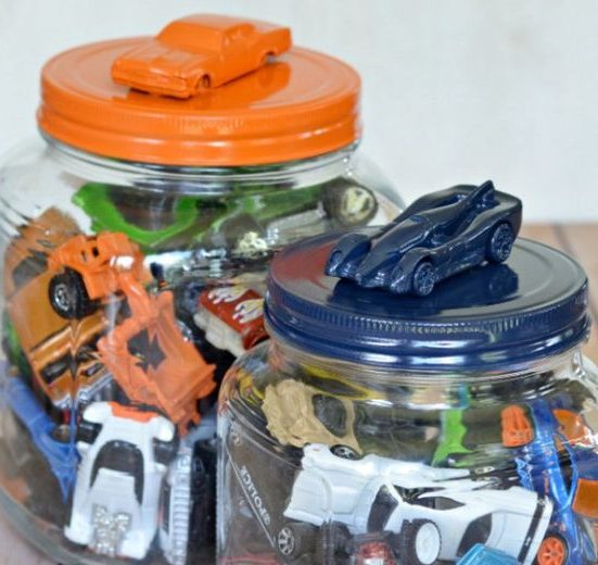 Glue A Toy Car To The Top Of A Jar & Spray Paint For A Creative Way To Store Hot Wheels and Matchbox Cars