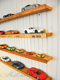 DIY Toy Car Storage Ideas - Hang Yard Sticks On The Wall To Store Hot Wheels and Matchbox Cars