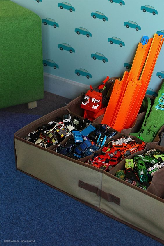 Simple Hot Wheels Track and Toy Car Storage and Organization Idea Using Drawer Dividers