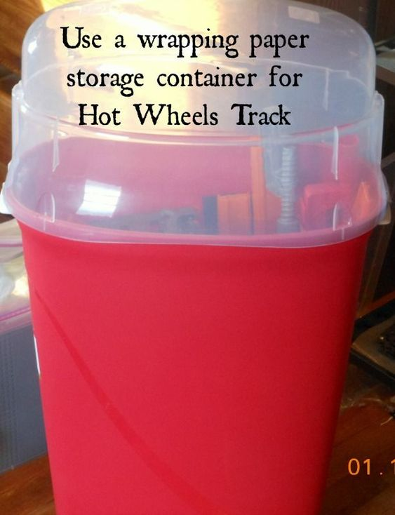 Use a wrapping paper storage container to store Hot Wheels Tracks