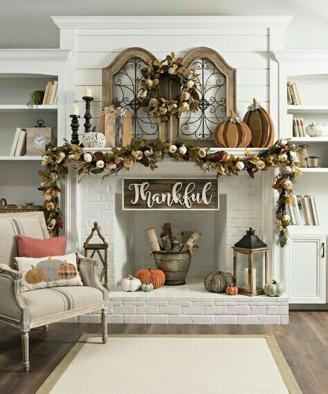 Fall / Autumn Fireplace Mantle Decor Ideas