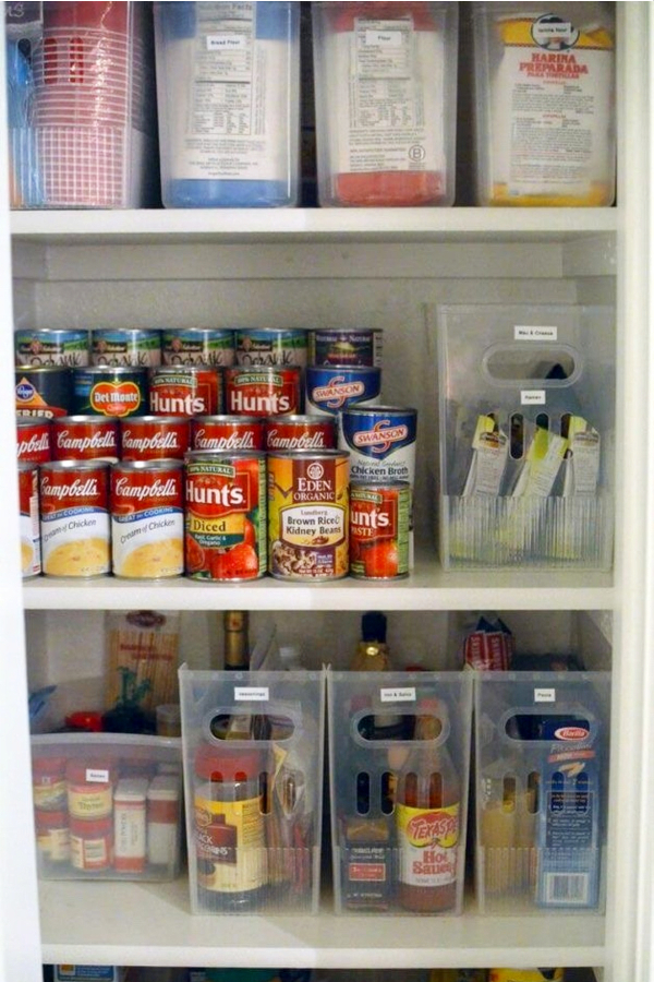 Organize Your Walk-In Pantry With Labeled Baskets and Clear Canisters - 30+ Kitchen Pantry Closets That Are Perfectly Organized