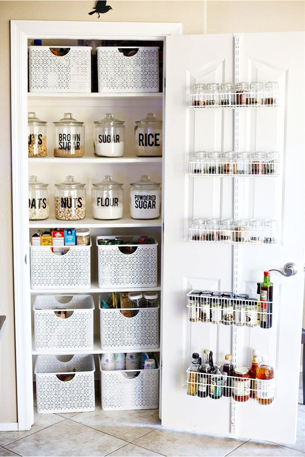 Makeover Your Walk-In Pantry! Use Labeled Clear Canisters, Bins and Kitchen Organizers to Declutter Your Pantry Shelves - 30+ Kitchen Pantry Closets That Are Perfectly Organized