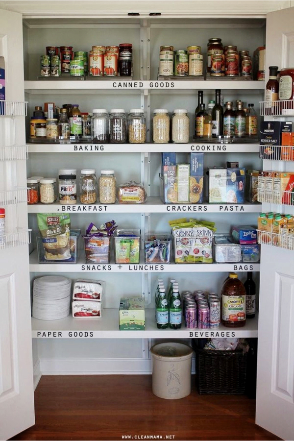 Store Your Food By Category to Keep Pantry Shelves Clutter-Free - 30+ Kitchen Pantry Closets That Are Perfectly Organized