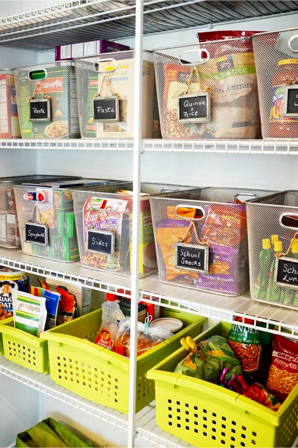 Organize Your Pantry With Labeled Baskets and Bins - 30+ Kitchen Pantry Closets That Are Perfectly Organized