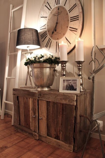 Front Entryway Ideas -   Rustic DIY Cabinet With Huge     Rustic Wall Clock and  Tall Candles