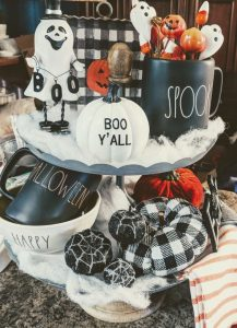 55+ Ways To Decorate Your Tiered Tray For Halloween | Two and Three Tier Tray Decor Ideas for Coffee Bars, Kitchen Counters, or Fireplace Mantle Decorating | Easy DIY Indoor Halloween Decor and Display Ideas